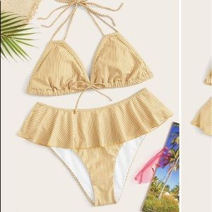 Yellow striped high waisted ruffle bikini! NWOT!
